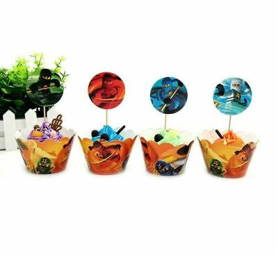 Lego Ninjago Cupcake Wrappers & Toppers 24Pcs Birthday Party Cake