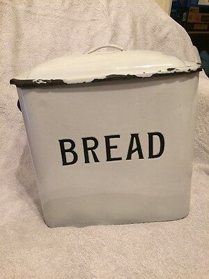Vintage Retro Authentic Metal Enamel Bread Bin White Blue Kitchenalia