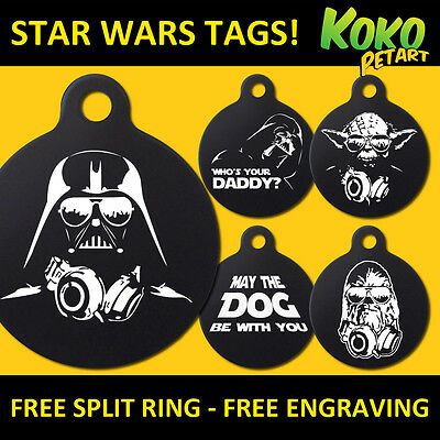 Star Wars Funny Parody Dog Cat Pet ID Tag Personalised Engraved Round Aluminium