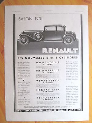 Renault Car Advertising 1931 From A Magazine In French