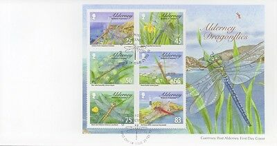 2010 Alderney First Day Cover Of Dragonflies Mini Sheet