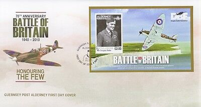 2010 Alderney First Day Cover Of Battle Of Britain Mini Sheet Douglas Barder