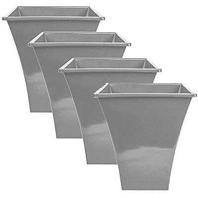 4 x SILVER Large Plant Pots Planters Indoor Outdoor Garden Tall Plastic Planter