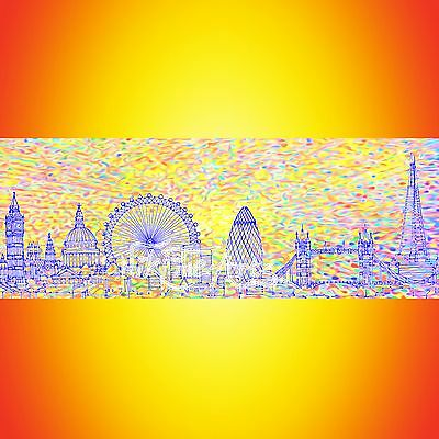Nik Tod Recreated From Original Painting Rare Large Signed Art London Cityscape