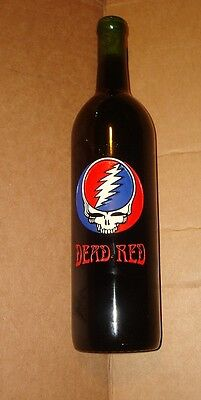 Grateful Dead ETCHED Decorative Wine Bottle (FULL) ALCOHOL FREE Dead Red Unwine