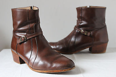 Vintage FHW brown leather Cuban heel Mersey ankle boots 60s 70s mod