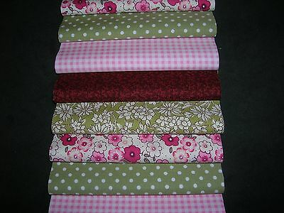 """40 x 5"""" CHARM PACK PINK & GREEN 100% COTTON PATCHWORK/QUILTING/CRAFTS GNP"""