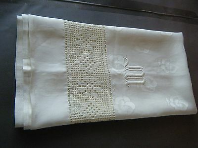 old Guest Towel Irish linen Damask raised embroidery initials crochet trim lace