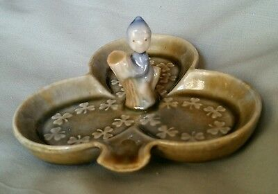 Irish porcelain pin dish. Clover with pixie on a tree stump