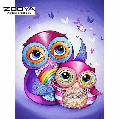 No-cut mosaic by numbers craft kit, purple and pink cartoon owls. UK