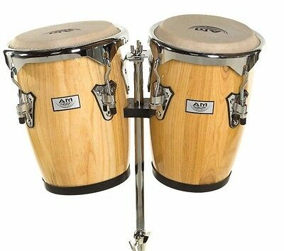 "NEW AM Percussion 9"" & 10"" Bongo Conga Combo Set with Stand - NATURAL REAL SKIN"