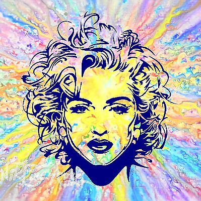 Recreated From Original Painting Large Mixed Signed Art Singer Madonna Modern Uk