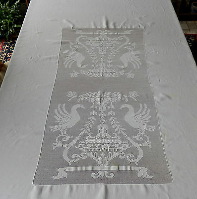 Antique Linen Tablecloth -  Mary Card Style Crochet Inserts