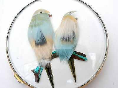 Vintage Gucci Bird Compact with Blue Feathers Compact Mirror Paris Vanity