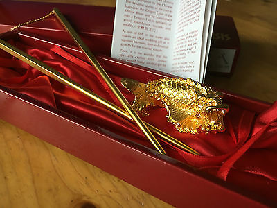 Risis 24 K Carat Gold Chopsticks With Carp Dragon Fish Rest Official Genuine Red