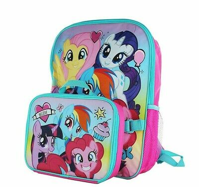 My Little Pony School Backpack Lunch Box Set rainbow Girls Pink Storage Book Bag