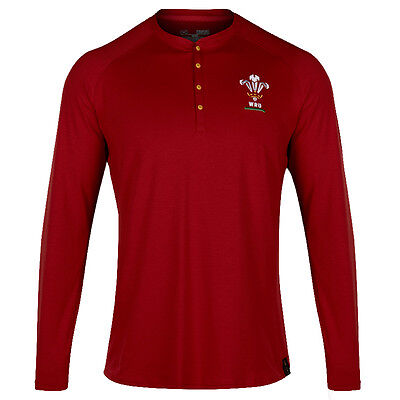 Under Armour Wales Mens Henley Long Sleeve Rugby Supporter Shirt