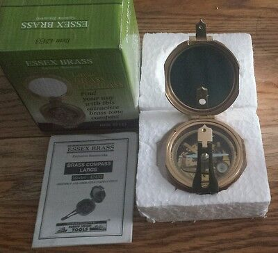 ESSEX Large Brass Compass Heavy Duty Nautical Maritime Surveyor Pocket Transit