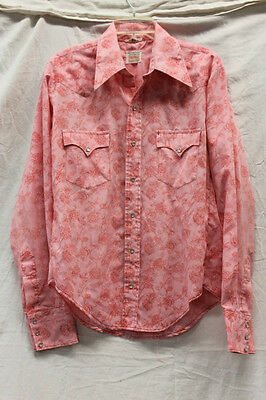 Karman Vintage Western Pearl Snap Womens Mens Shirt Size 16.5 Cowboy Cowgirl
