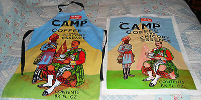 Rare collectable vintage Camp Coffee apron and tea towel