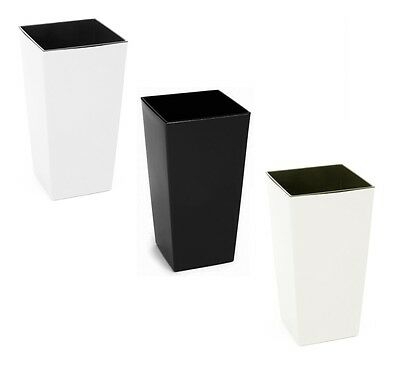 GLOSS SQUARE Large Plant Pots Planters Indoor Outdoor Garden Tall Plastic Pot