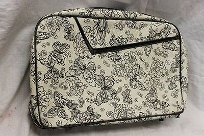 VINTAGE Butterfly Briefcase Laptop Bag Used Condition White Black Mod Chic