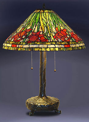 """Tiffany Style Stained Glass Daffodil Table Lamp 18"""" Shade New"""