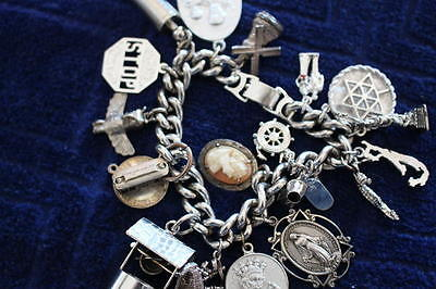 Vintage Silver Tone Bracelet with Sterling Silver Charms