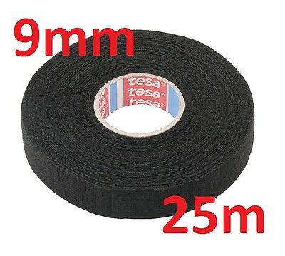 9mm x 25m TESA Tape PET FLEECE CABLE ROLL ADHESIVE CLOTH FABRIC WIRING HARNESS