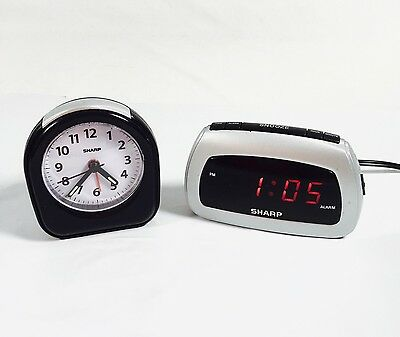 SHARP ALARM CLOCK Digital SPC085 Snooze Electric & Small Travel Battery Lot  2