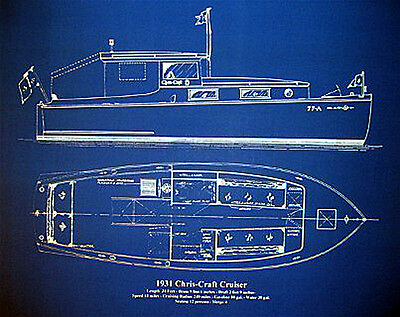 Vintage Chris Craft Boat Yacht 1931 Blueprint Plan 18x23  (006)