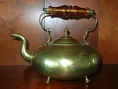 Scottish Toddy Tea Kettle Goose Neck Victorian Brass James Clews Teapot Kettle