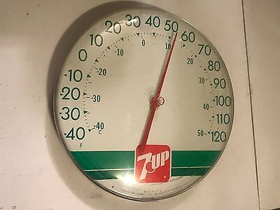 "Vintage 7 Up Round Large 12"" Diameter Advertising Thermometer *Good Condition*"