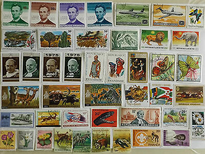 Collection of stamps from RWANDA / BURUNDI : off paper : 61 stamps