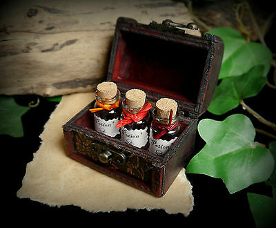 3 x Witches Potion Bottles in a Chest Wicca Pagan Witchcraft Spells Gift