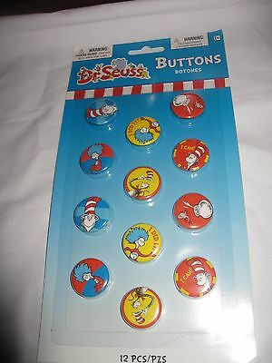 Dr. Seuss The Cat in the Hat Set of 12 Reward Celebration Party Buttons Pins NIP