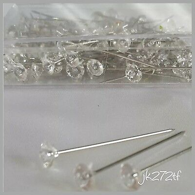 "Clear Acrylic Diamante  Diamonte Pins Bouquet Wedding Flowers 4cm 1.5"" x 100"