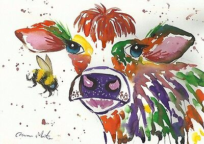 Colourful Cow  & Bumble bee Original watercolour, size A4 by Casimira Mostyn
