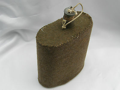 Army Water Bottle With Hessian Felt Exterior With Cork Stopper