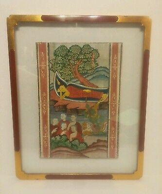 Early 19th Century Thai Manuscript Painting w/ Khmer Text in Vintage Glass Frame
