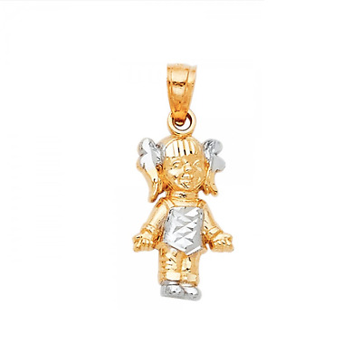 14K Solid Yellow White Gold Girl Pendant - Polished Necklace Charm Child Baby