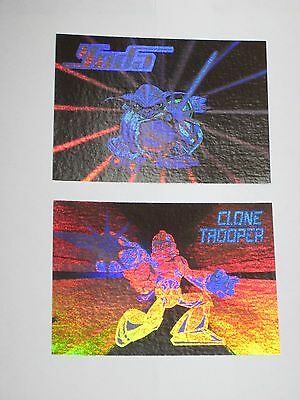 2005 Star Wars Revenge Of Sith Hologram Insert 2 Card Lot Yoda Clone Trooper! #1