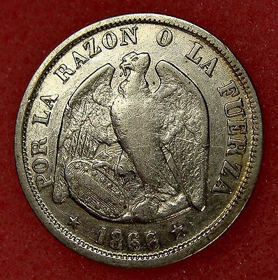 Chile, 20 Centavos 1866, Km# 135, Nice Silver Coin, Lot 7