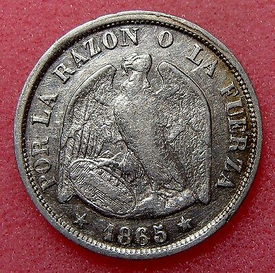 Chile, 20 Centavos 1865, Km# 135, Nice Silver Coin, Lot 33