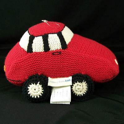 Pottery Barn Kids Vtg Red Car Shaped Accent Pillow Knit Plush 2007 Match Sheets