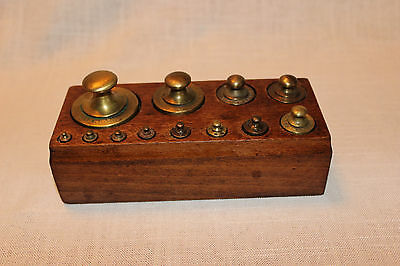 Set of French Antique Brass Gram Weights in Wood for a Balance Scale