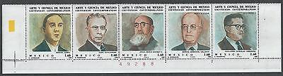 #2818 MEXICO Sc#1293-97 MNH Scientists 1982 Strip of 5