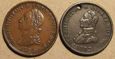 Nice Pair of 1783 Washington Colonials Draped Bust No Button + Lg Military Bust!