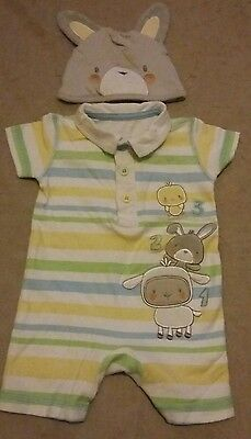 Baby Boy Play / Sleepsuit 0/3 Months with Hat
