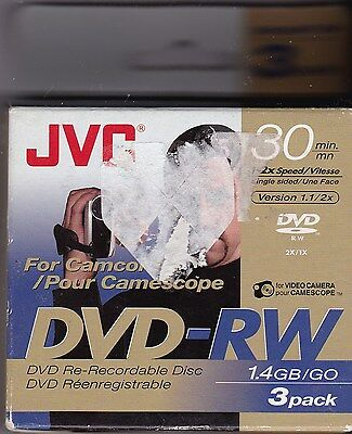 2 Packages of Camcorder JVC 30 min. 80mm DVD-RW 1.4 GB/GO 3 pack X2 (6 Total)